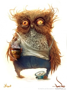 This is a cute owl drinking coffee.